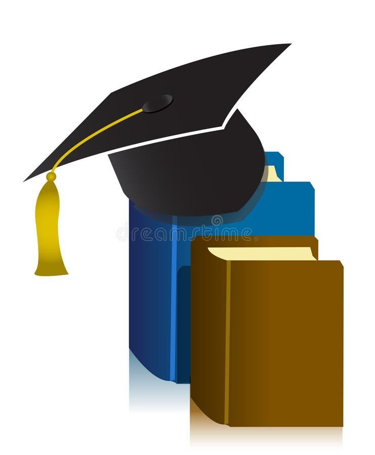 Tampão e livro da graduação ilustração stock