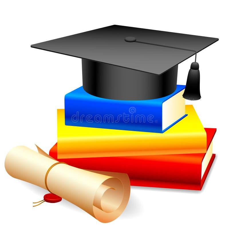 Tampão e livros da graduação. ilustração stock