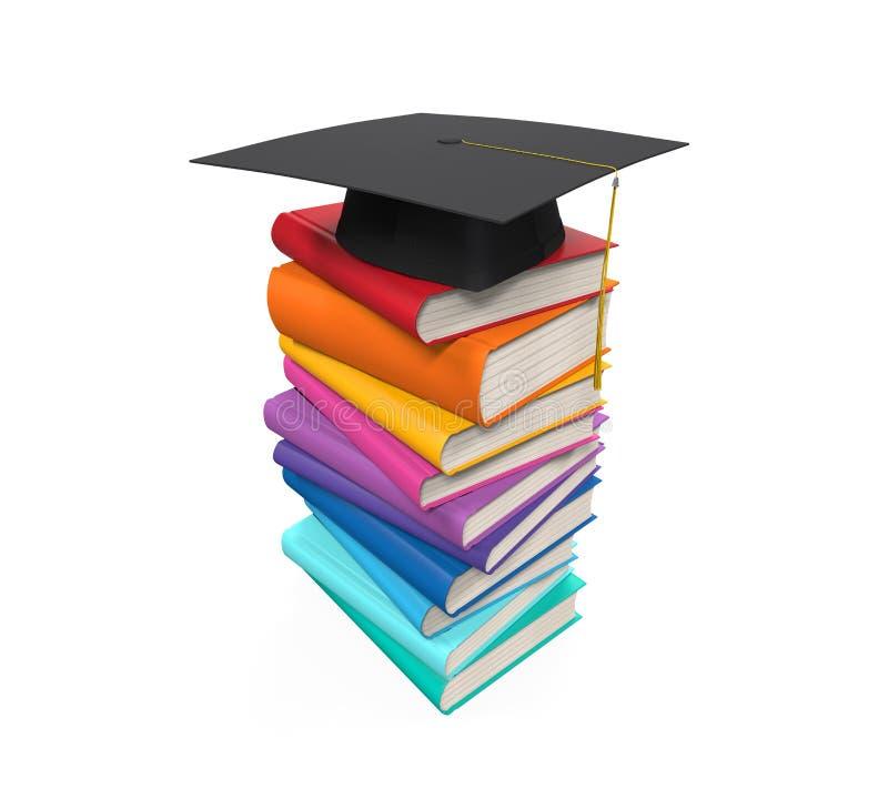 Tampão e livros da graduação ilustração do vetor