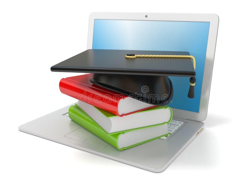 Tampão e livros da graduação no portátil Conceito do Internet, aprendendo em linha 3d ilustração stock