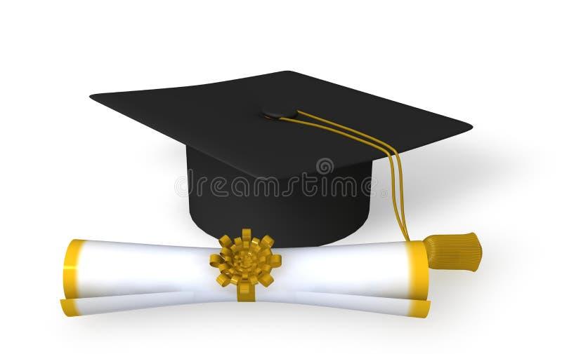 Tampão e rolo da graduação ilustração do vetor
