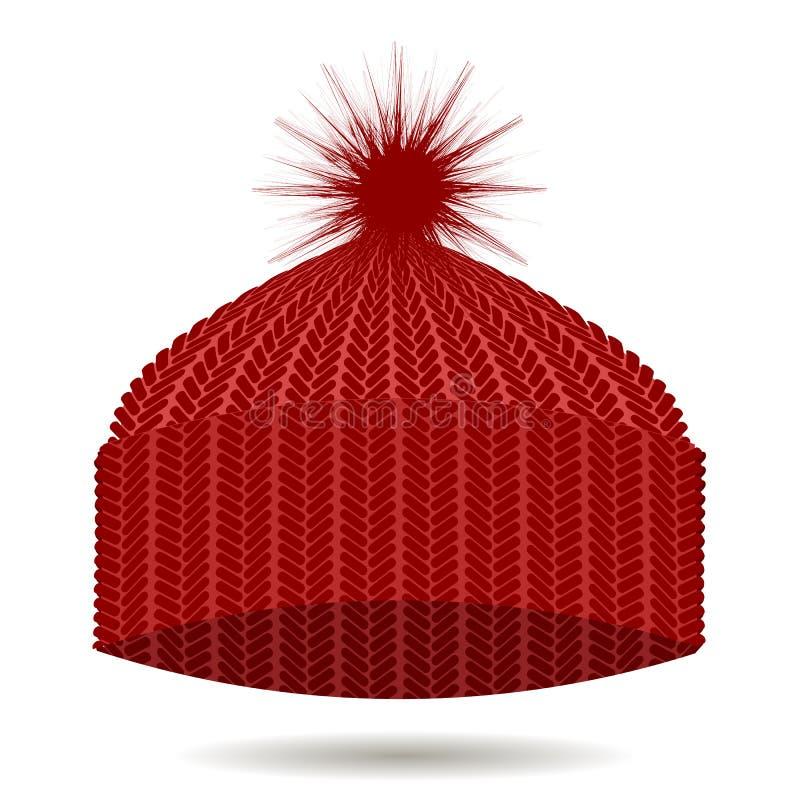 Tampão feito malha vermelho Chapéu do inverno ilustração do vetor