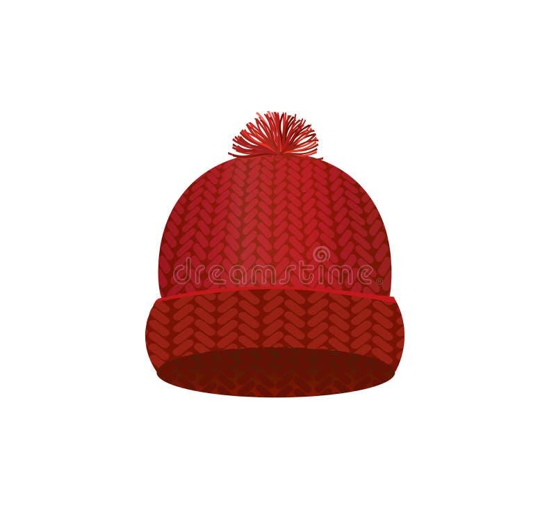 Tampão feito malha vermelho do inverno ilustração royalty free