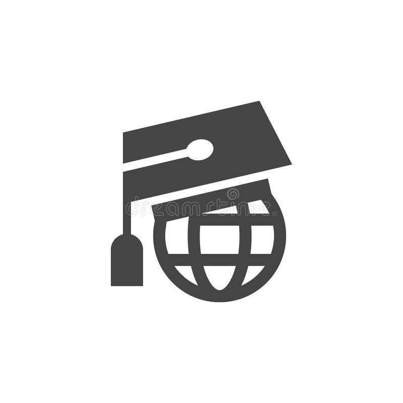 Tampão graduado no globo Símbolo do ícone do conceito do conhecimento do mundo no mundo inteiro da aprendizagem, da educação em l ilustração stock