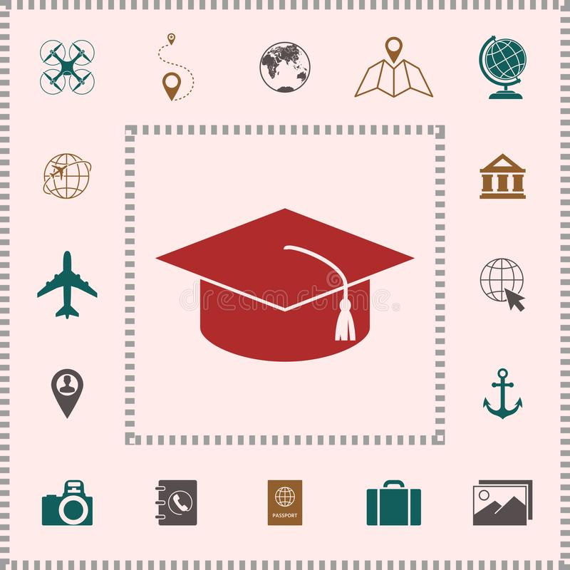 Tampão mestre para graduados, tampão acadêmico quadrado, ícone do tampão da graduação ilustração stock