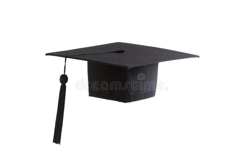 Tampão preto da graduação fotografia de stock