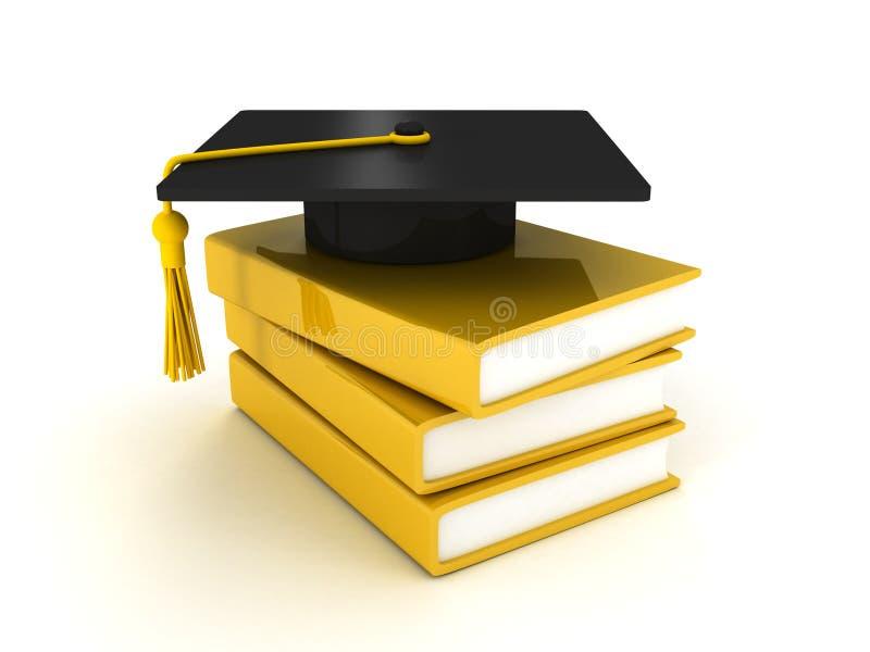 Tampão preto da graduação na pilha dos livros sobre o branco ilustração royalty free