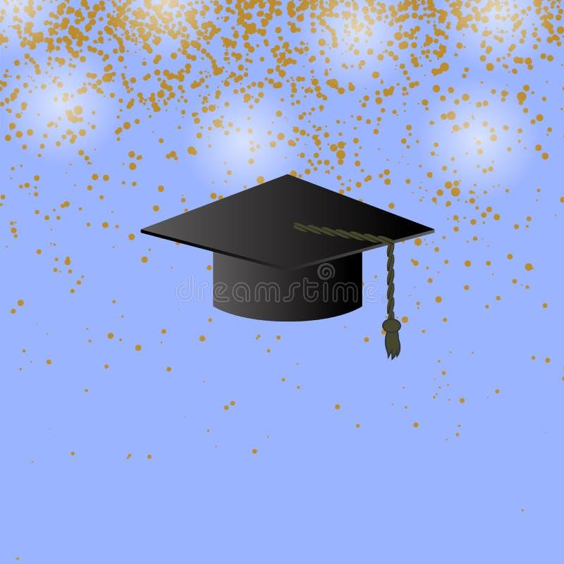 Tampão preto da graduação no fundo dos confetes ilustração do vetor