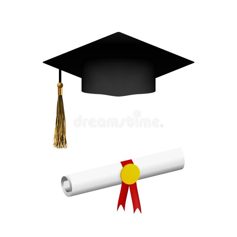 Tampão realístico da graduação com sombra ilustração stock