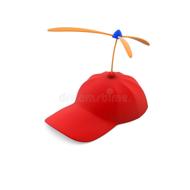 Tampão vermelho com hélices do brinquedo ilustração royalty free