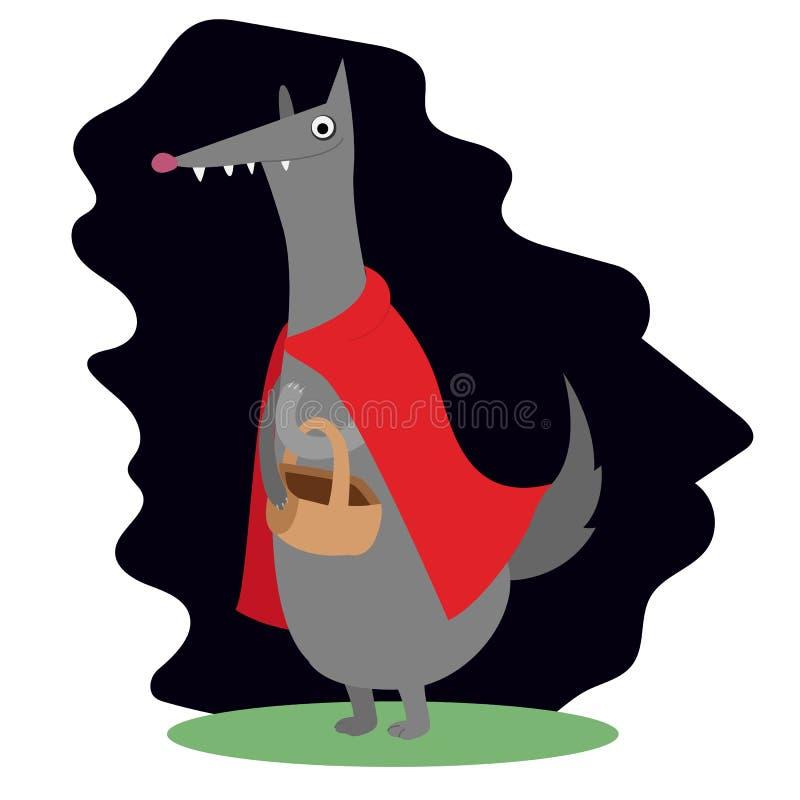 Tampão vermelho do conto de fadas do lobo do símbolo da arte do vetor ilustração do vetor