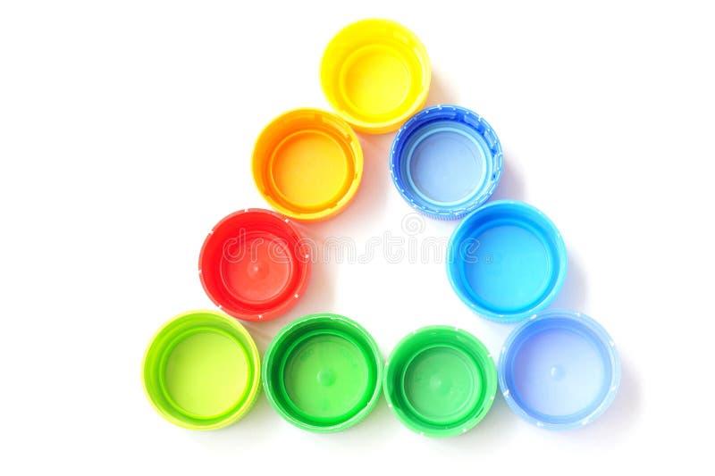 Tampões de frasco plásticos coloridos imagem de stock royalty free
