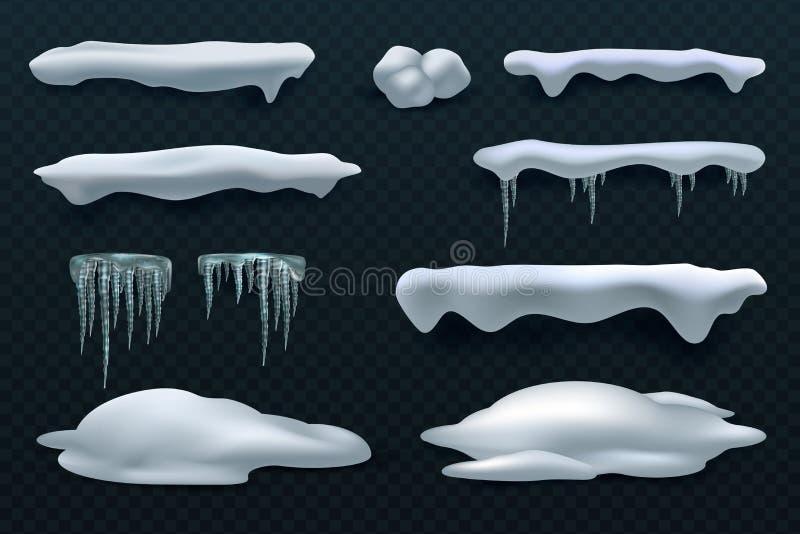 Tampões e sincelos da neve Decorações do inverno do vetor da bola de neve e do monte de neve isoladas ilustração royalty free