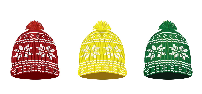 Tampões feitos malha do inverno com teste padrão nórdico ilustração stock