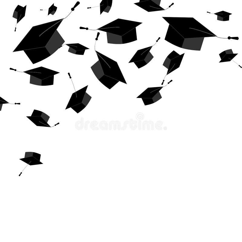 Tamp?es graduados no fundo branco BEIRA DE CANTO Cart?o graduado da cerim?nia Ilustra??o do vetor ilustração stock