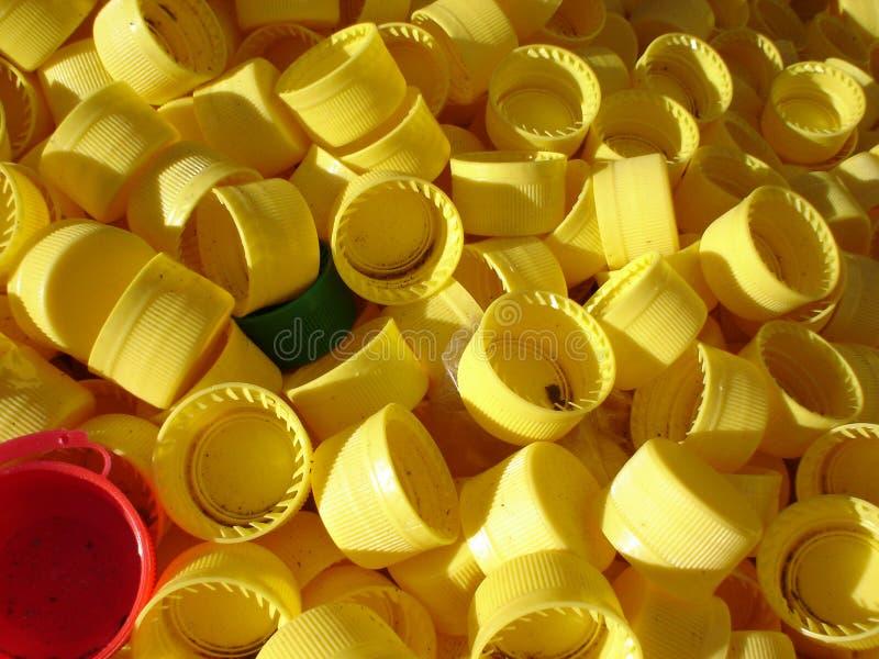 Tampões plásticos recicl fotografia de stock royalty free