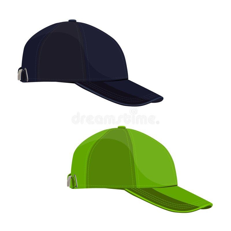 Tampões pretos e verdes no fundo branco Boné de beisebol ilustração stock