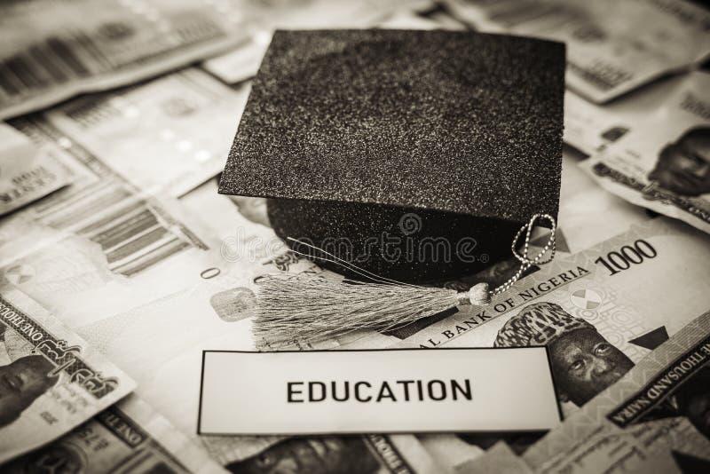 Tamp?o acad?mico do barrete da universidade em notas nigerianas do naira imagem de stock royalty free