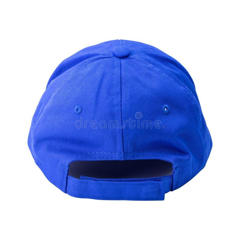 Tamp?o azul isolado no fundo branco Molde do boné de beisebol na vista traseira Trajeto de grampeamento fotos de stock