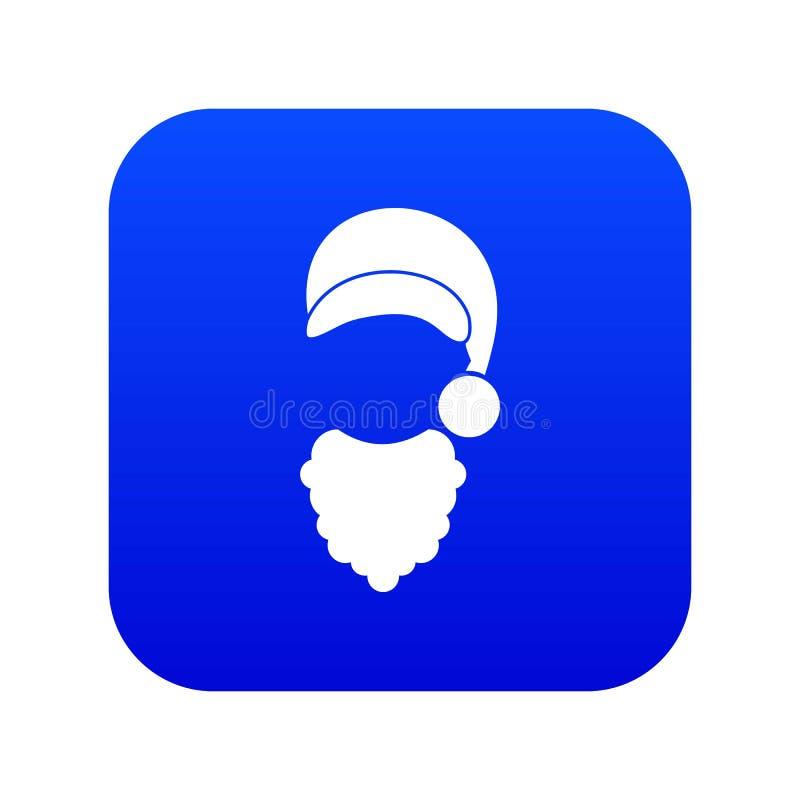 Tamp?o com o pompon do azul digital do ?cone de Santa Claus e da barba ilustração stock