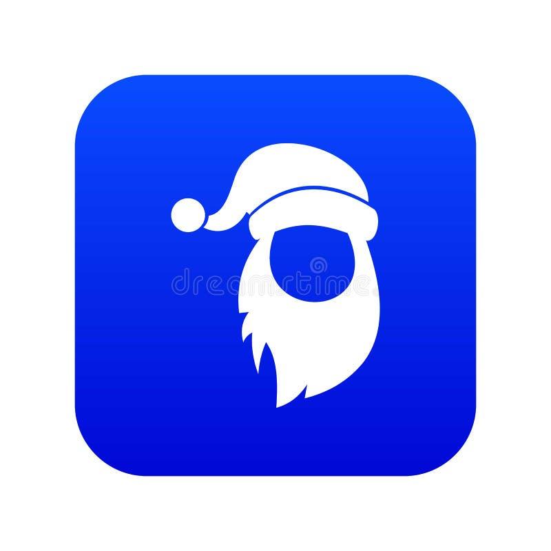 Tamp?o com o pompon do azul digital do ?cone de Santa Claus e da barba ilustração do vetor