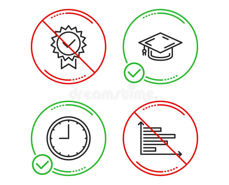 Tamp?o da gradua??o, de ?cones do tempo e do certificado grupo Sinal horizontal da carta Vetor ilustração do vetor