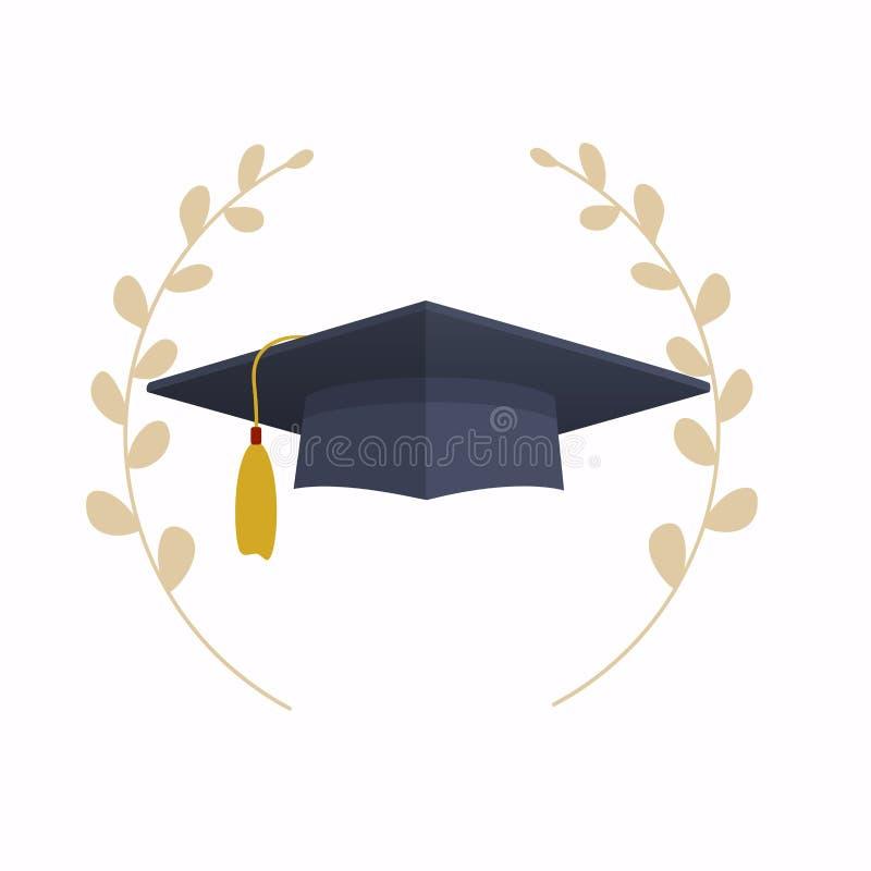 Tamp?o da gradua??o Educa??o Conceito moderno da ilustra??o do vetor do projeto liso ilustração royalty free