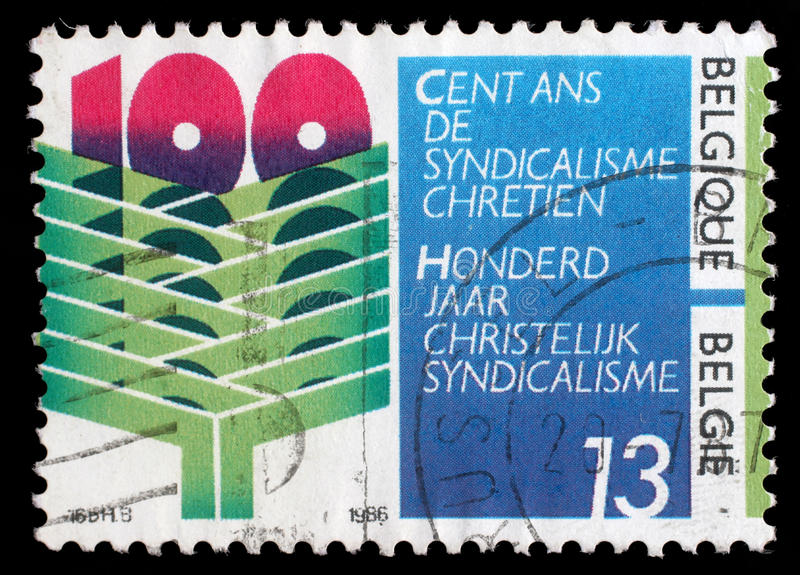 Tamp skrivev ut vid Belgien som var hängiven till 100 år av kristen syndicalisme i Belgien fotografering för bildbyråer