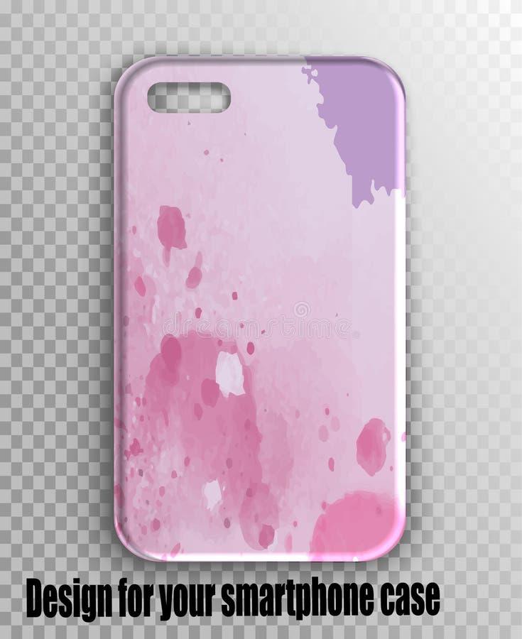 Tampa à moda do iPhone da disposição do vetor - rosa da aquarela, cópia lilás imagens de stock