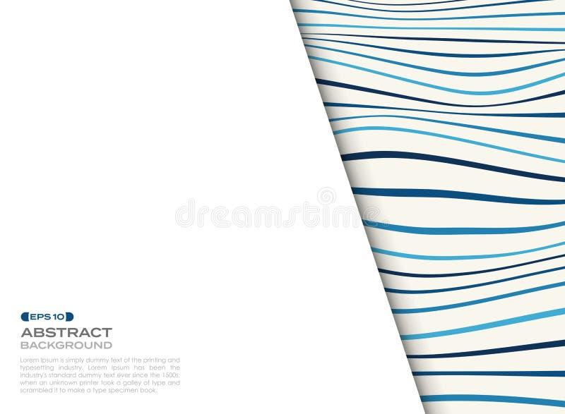 Tampa abstrata do teste padrão ondulado azul com espaço livre do fundo do texto ilustração royalty free