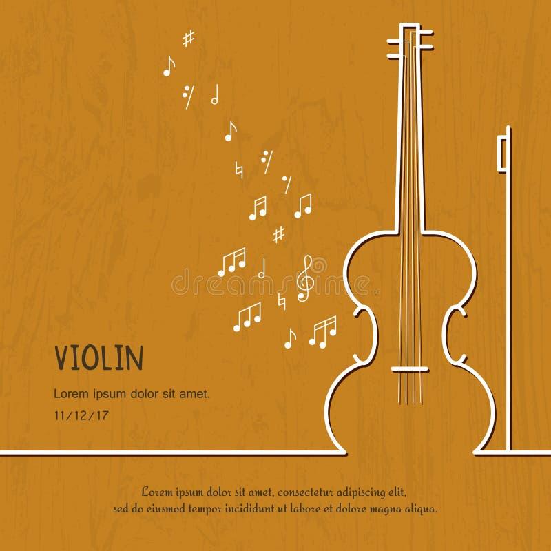 Tampa abstrata do violino da música Ilustração gráfica do cartaz do vetor Linha bonito moderna fundo do cartão Conceito sadio ilustração stock
