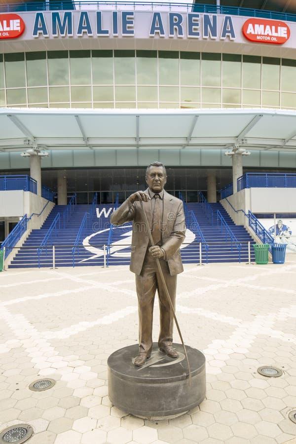 Tampa Bay blixts Phil Esposito Statue royaltyfria foton