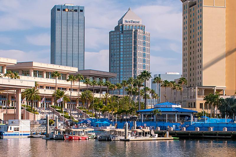 Boat Tours and Convention Center in downtown area. Tampa Bay, Florida. April 28, 2019 . Boat Tours and Convention Center in downtown area royalty free stock photography