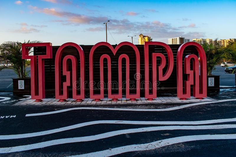 Red Tampa Sign on downtown area. Tampa Bay, Florida. April 28, 2019. Red Tampa Sign on downtown area royalty free stock photos