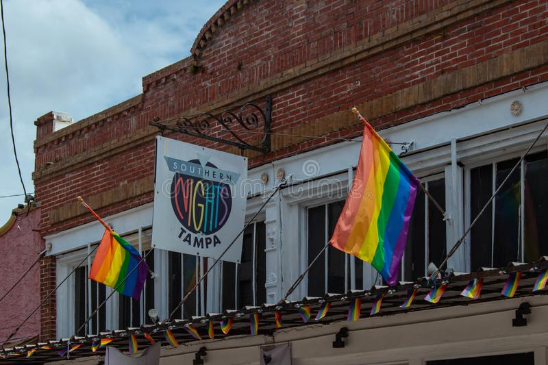 Southern Nights Tampa and colorful gay flags at Ybor City. Tampa Bay, Florida. July 12, 2019 Southern Nights Tampa and colorful gay flags at Ybor City stock photos