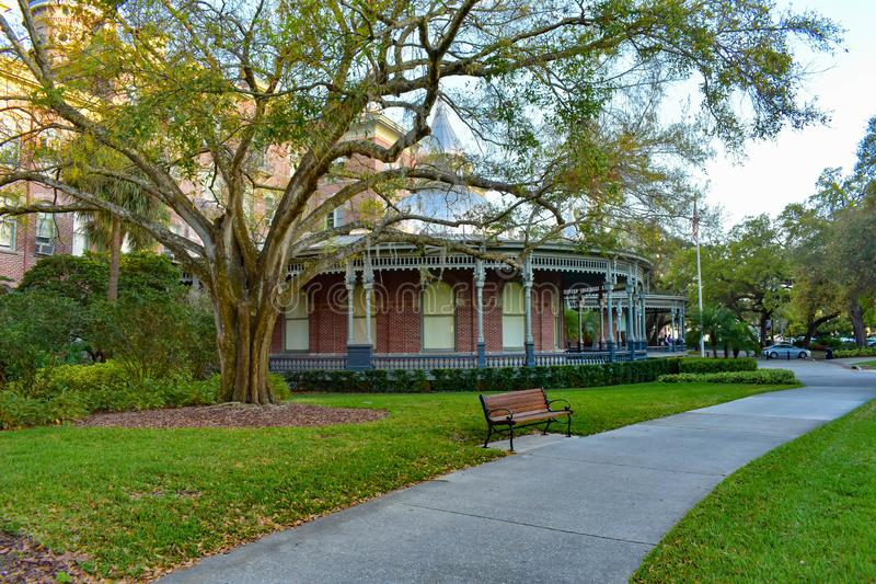 Interior gardens and gallery by Henry B. Plant Museum in downtown area 1. Tampa Bay, Florida. March 02, 2019. Interior gardens and gallery by Henry B. Plant royalty free stock photography