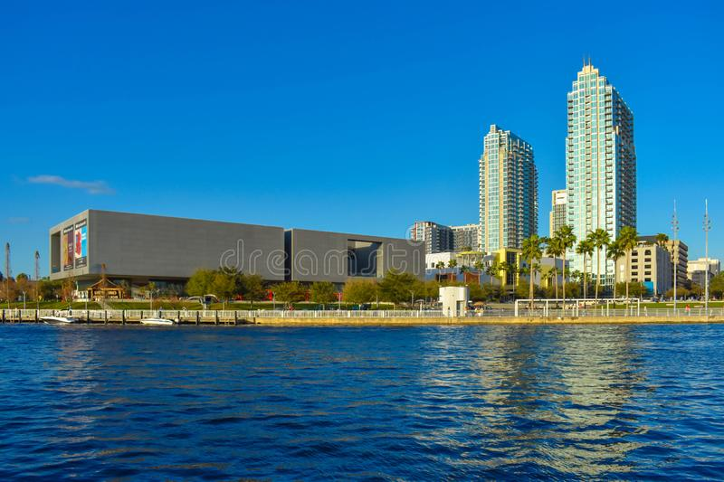 Tampa Museum of Art and skyscrapers over the Hillsborough river coast in downtown area 3. Tampa Bay, Florida. March 02, 2019 . Tampa Museum of Art and royalty free stock photos