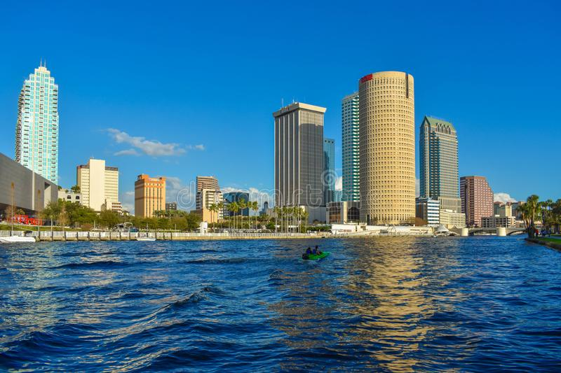 Tampa Museum of Art and skyscrapers over the Hillsborough river coast in downtown area 5. Tampa Bay, Florida. March 02, 2019 . Tampa Museum of Art and royalty free stock photos