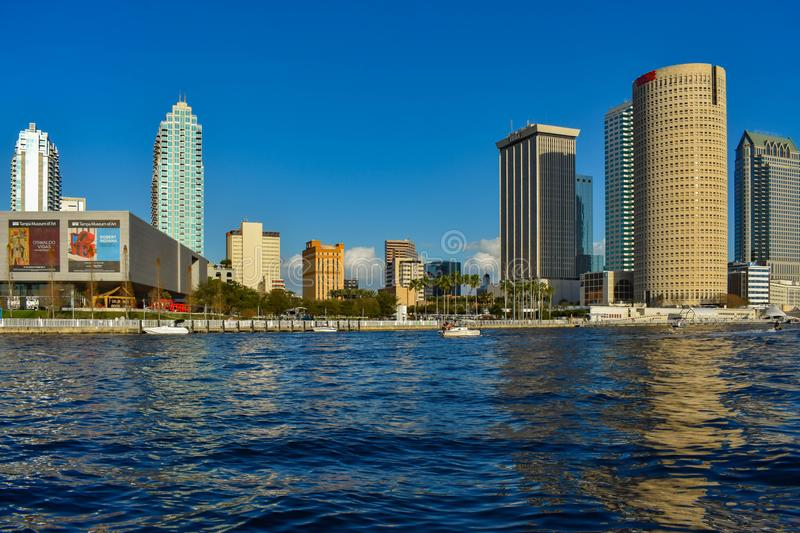 Tampa Museum of Art and skyscrapers over the Hillsborough river coast in downtown area 8. Tampa Bay, Florida. March 02, 2019 . Tampa Museum of Art and stock photography