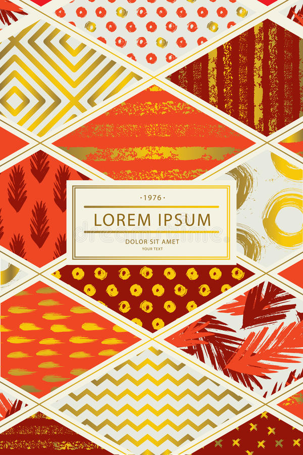 Tampa colorida no estilo dos retalhos em máscaras vermelhas com elementos do ouro para o folheto da tampa, inseto, cartaz, livro, ilustração stock