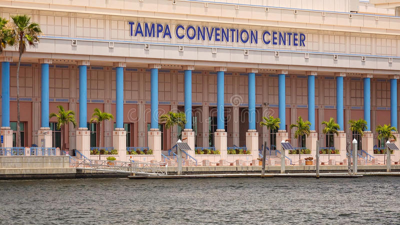 Tampa Convention Center and Small Boat in Downtown Tampa, Florid stock image