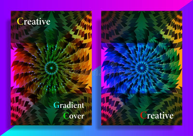 Tampa criativa do inclinação Molde m?nimo do projeto das tampas ou dos cartazes Formas abstratas com inclina??es vibrantes ilustração do vetor