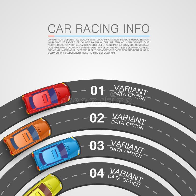Tampa da arte da informação das corridas de carros ilustração royalty free