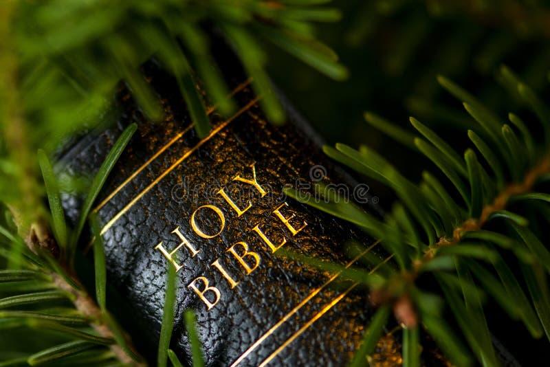 Tampa de couro preta da Bíblia escrita com letras douradas imagem de stock royalty free