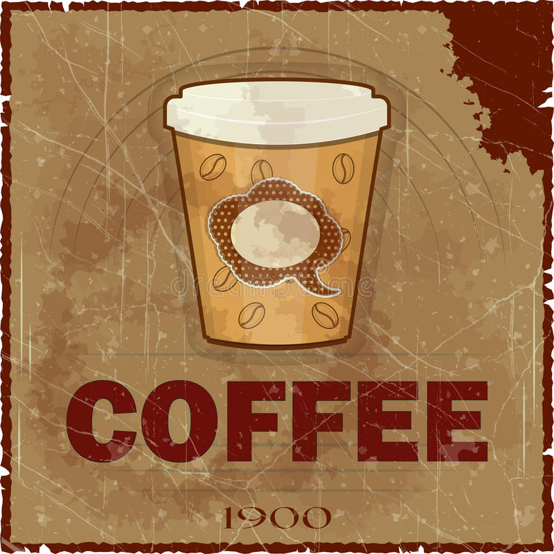 Tampa de Grunge para o menu do café ilustração stock