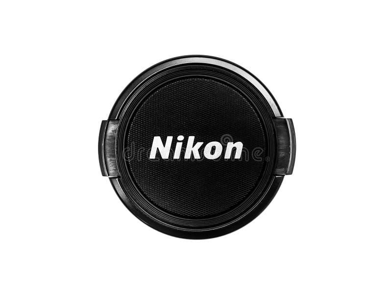 Tampa de lente de Nikon fotografia de stock
