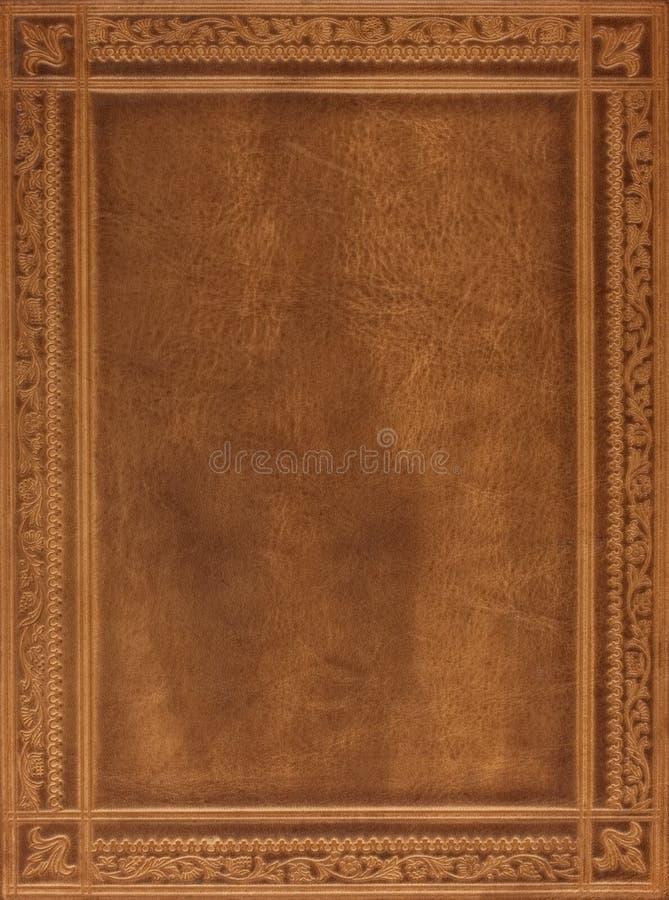 Tampa de livro de couro de Brown imagens de stock royalty free