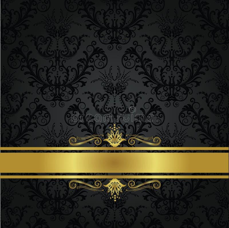 Tampa de livro luxuosa do carvão vegetal e do ouro ilustração do vetor