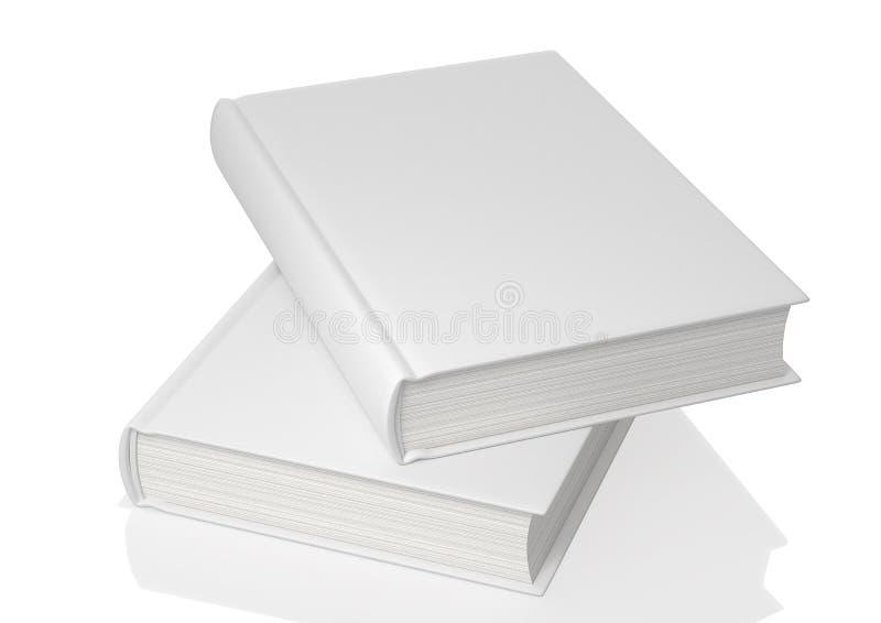 Tampa de livros brancos vazia no fundo branco ilustrações 3D ilustração do vetor
