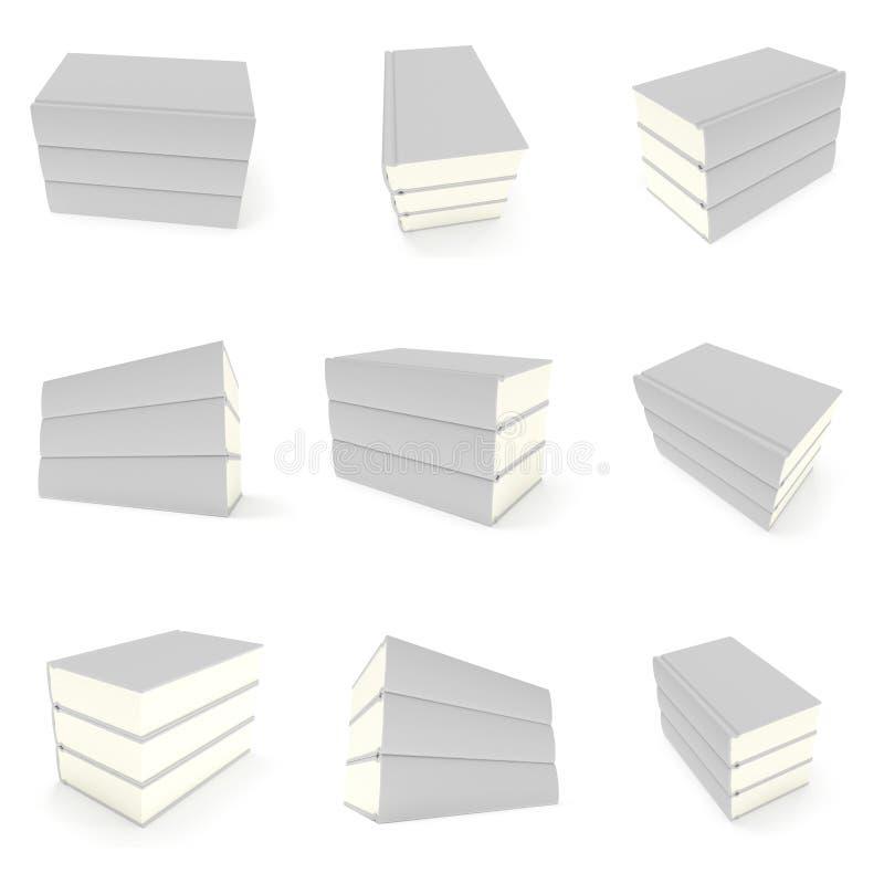 tampa de livros da placa 3D sobre o fundo branco ilustração do vetor